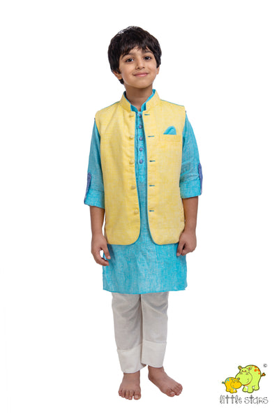 100% Linen Yellow Nehru Jacket (Jacket only)