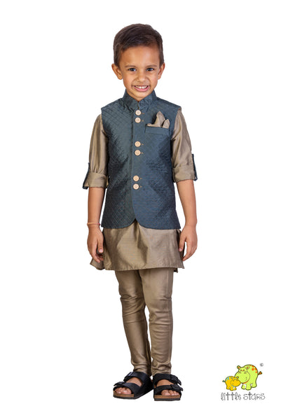 Quilted Jacket with Golden Beige Kurta Set (Jacket only)