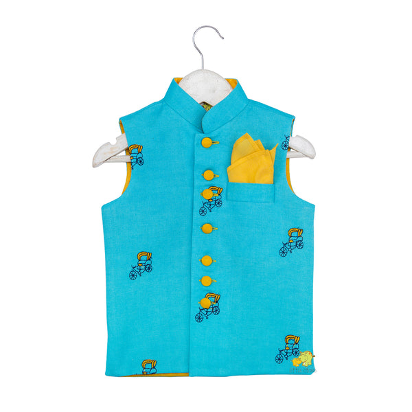 Rickshaw embroidered Light Blue Stylish Nehru Jacket