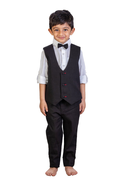 Black Waistcoat Bow Shirt & Trouser Set- Perfect for Birthdays