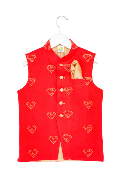 Superhero Embroidered Nehru Jacket