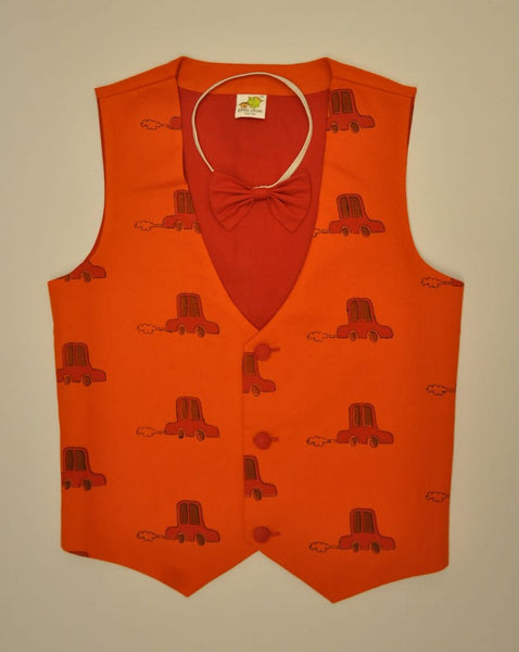 Red Cars Printed Quirky Waistcoat with Bow