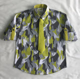 Lime Camouflage Print Rollup Sleeves Quirky Shirt with Tie