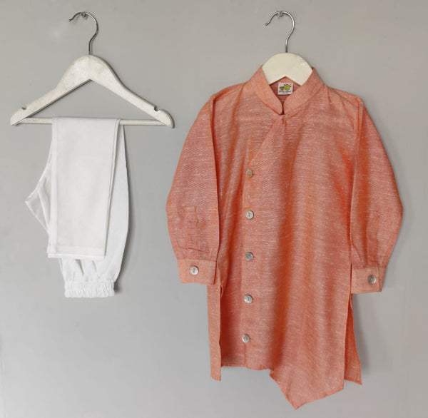 Asymetric Khadi Kurta Churidar Set