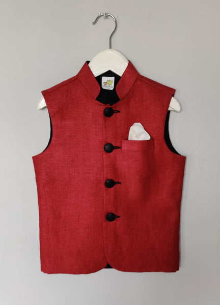 Jute Textured Nehru Jacket with Metal Buttons (Jacket only)