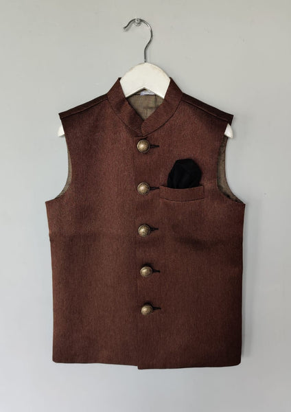Deep Rust Textured Nehru Jacket with Metal Buttons (Jacket only)