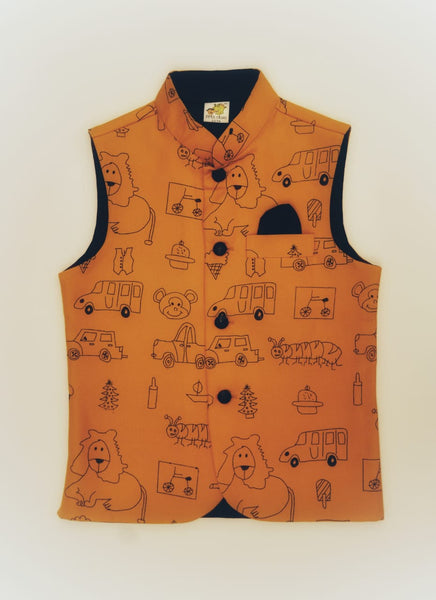 Assorted Graphics Printed Nehru Jacket (Jacket only)