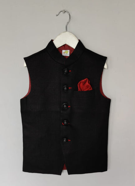 Black Nehru Jacket with Metal Buttons(Jacket only)