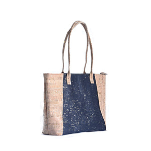Black and Natural Caspia Vegan Tote
