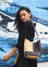 Load image into Gallery viewer, Black & Natural Caspia Bucket Bag