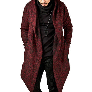 Men's Hooded Solid Color Loose Fit Coat Irregular Hem Trench Coat