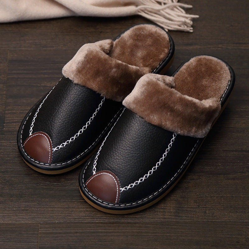 Winter PU Leather Warm Indoor Slippers