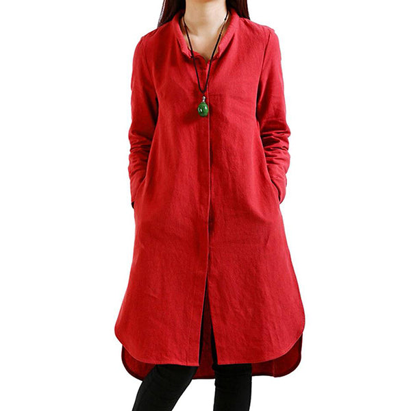 Vintage Loose Split Solid Long Sleeve Stand Collar Shirt Dresses For Women