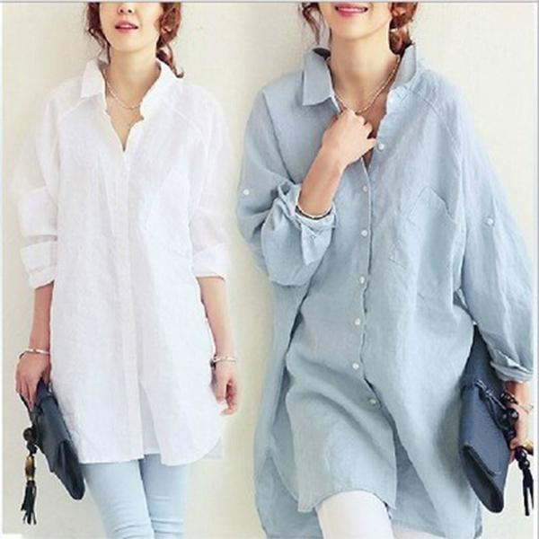 Long Sleeved Large Size Long Loose Cotton Shirt