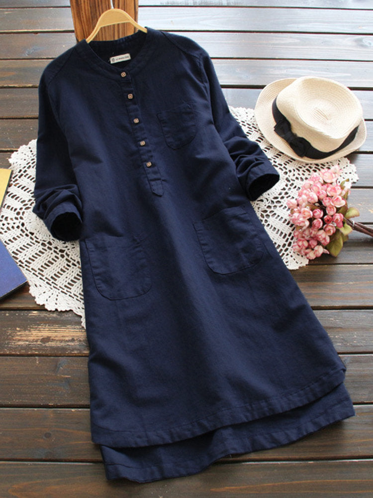 Women Pure Color Buttons Vintage Shirt Mini Dresses