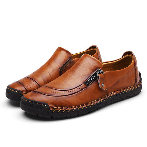 Men Hand Stitching Zipper Slip-ons Leather Shoes
