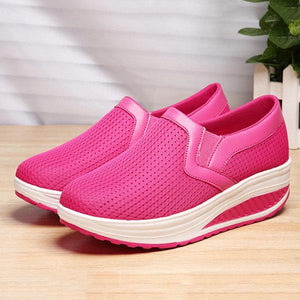 Breathable Mesh Pure Color Rocker Sole Shake Casual Shoes