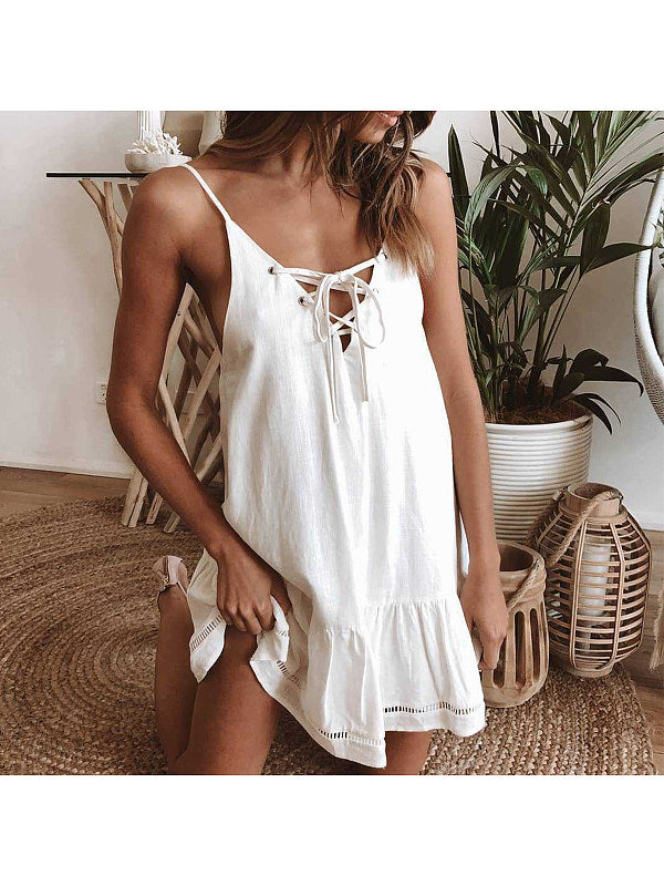 Summer Spaghetti Strap A-Line Tie Front Ruffle Casual Dress