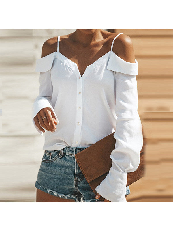 Spaghetti Strap Backless Plain Blouses
