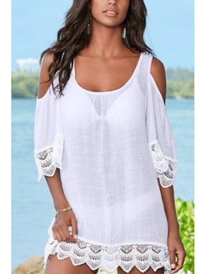 Round Neck Plain Bell Sleeve Three Quarter Sleeve Cover Ups