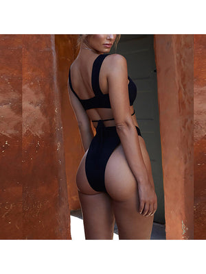Female Sexy High Waist Belt Beautiful Back Swimsuit
