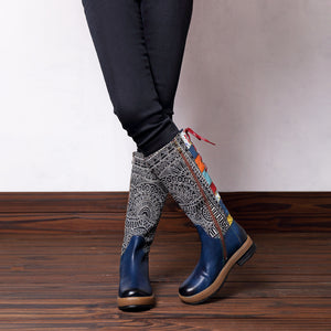 Bohemian Splicing Pattern Flat Leather Rainbow Knee Boots