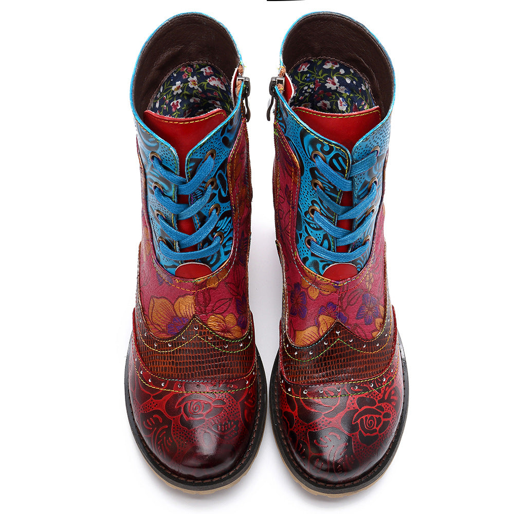 Cowgirl Retro Genuine Leather Lace-up Pattern Boots