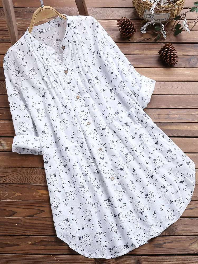 Cotton Linen Printed Loose Shirt