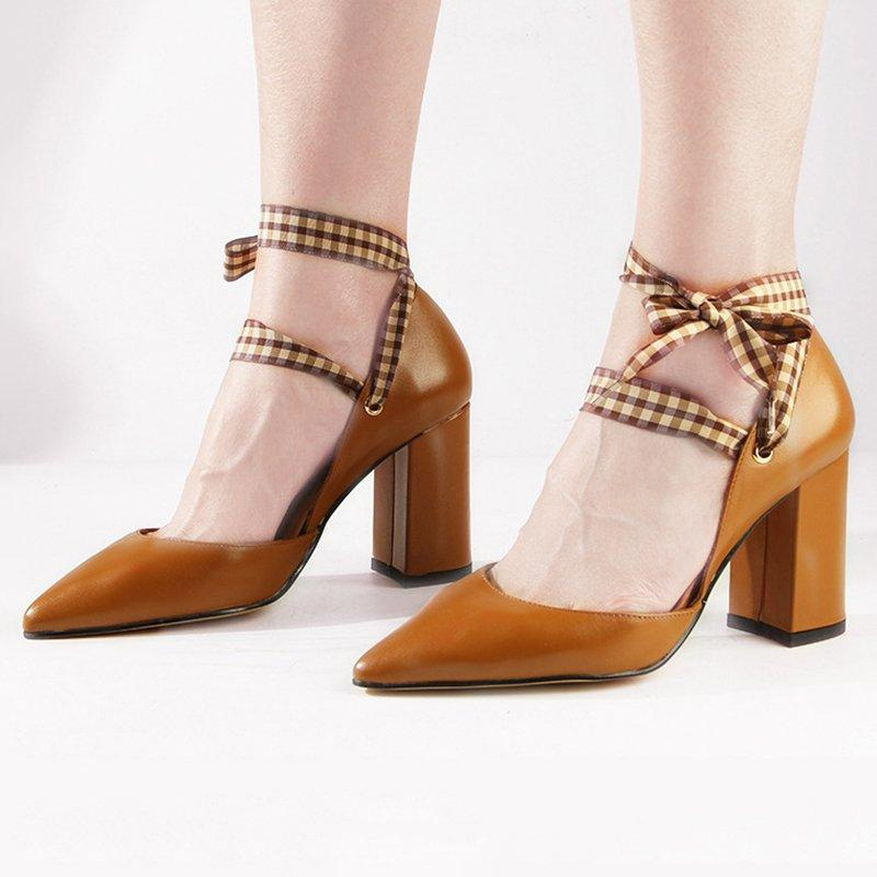 Plaid Bowknot Pointed Toe Work Shoes