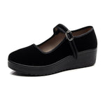 Black Buckle Dance Ballet Soft Working Flat Shoes