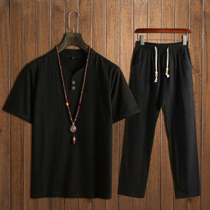 Men's Vintage Style Sets Two Buckle Short-sleeved T-shirt + Trousers Casual Two-piece
