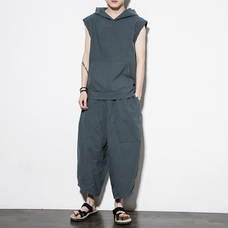 Men's Cotton Linen T-shirt Casual Pants Two-piece Set