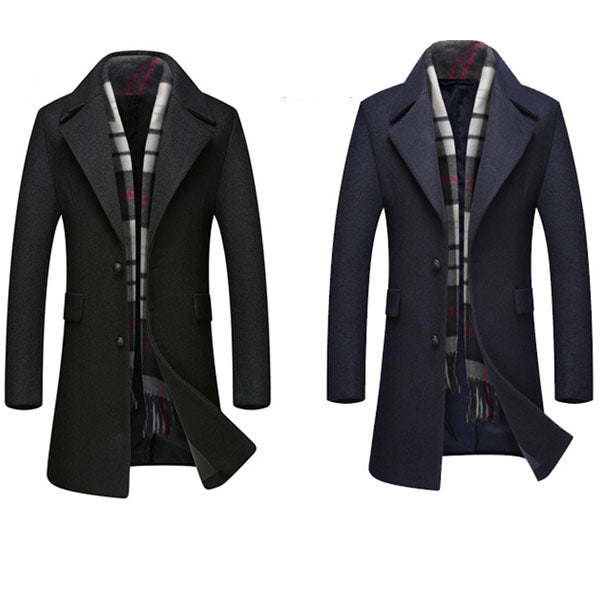 Mens Stand Collar Mid-long Trench Coat