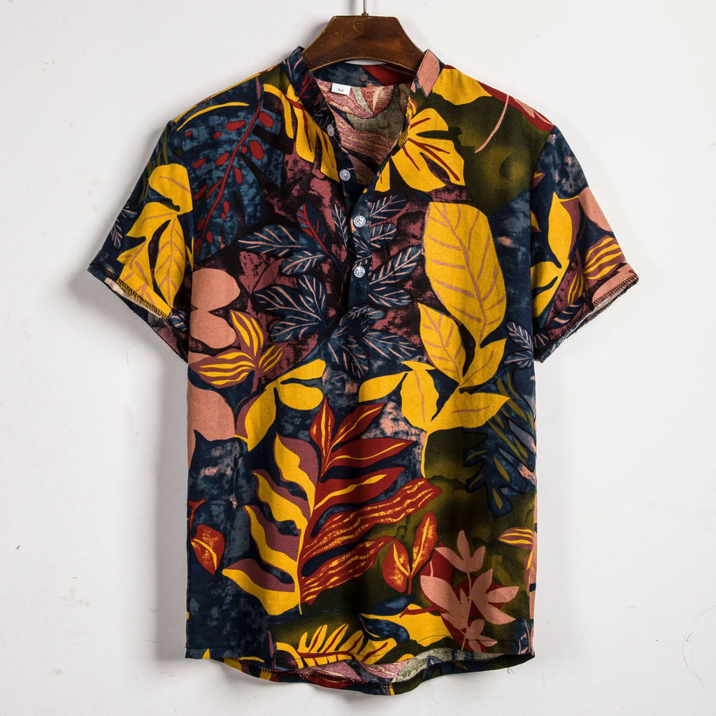 Mens Ethnic Style Printed Short Sleeve Shirt