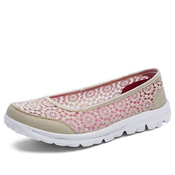 Women Casual Breathable Hollow Lace Flats Shoes
