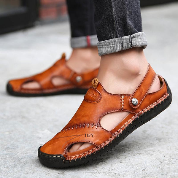 504e96d1e Men s Hand Stitching Soft Outdoor Closed Toe Leather Sandals – pingchic
