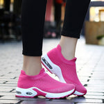 Female Breathable Lightweight Flying Woven Air Cusion Sneakers