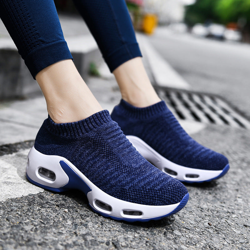 Women Air Cushion Flying Woven Sneakers
