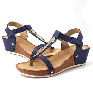 Women's Shoes T Strap Hook Loop Clip Toe Wedges Heels Sandals