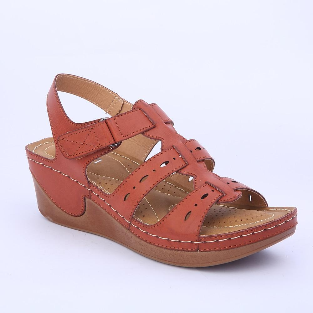 Women Wedges Platform Casual Soft Sole Camel Color Lightweight Comfortable Sandals