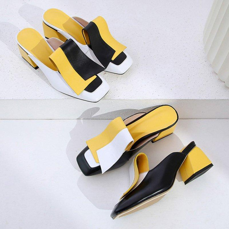Genuine Leather Panel Color Block Daily Muller Slippers