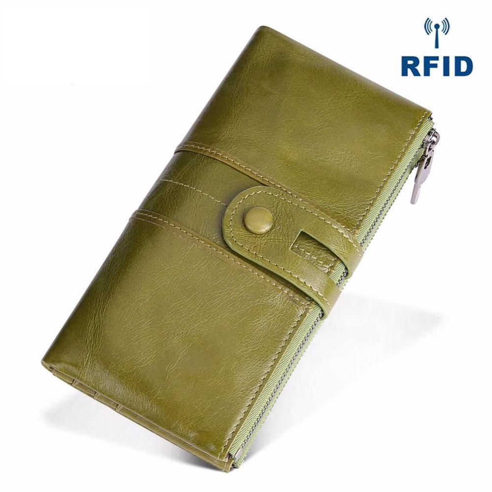 Genuine Leather RFID Long Wallet
