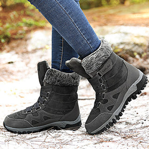 Large Size Women Hook Loop Outdoor Mid Calf Warm Suede Boots