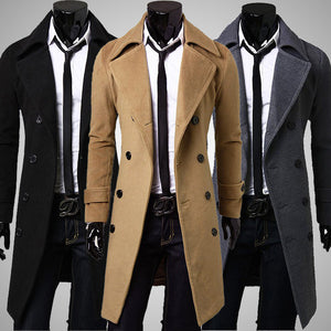 Mens Double Breasted Stand Collar Mid-long Trench Coat