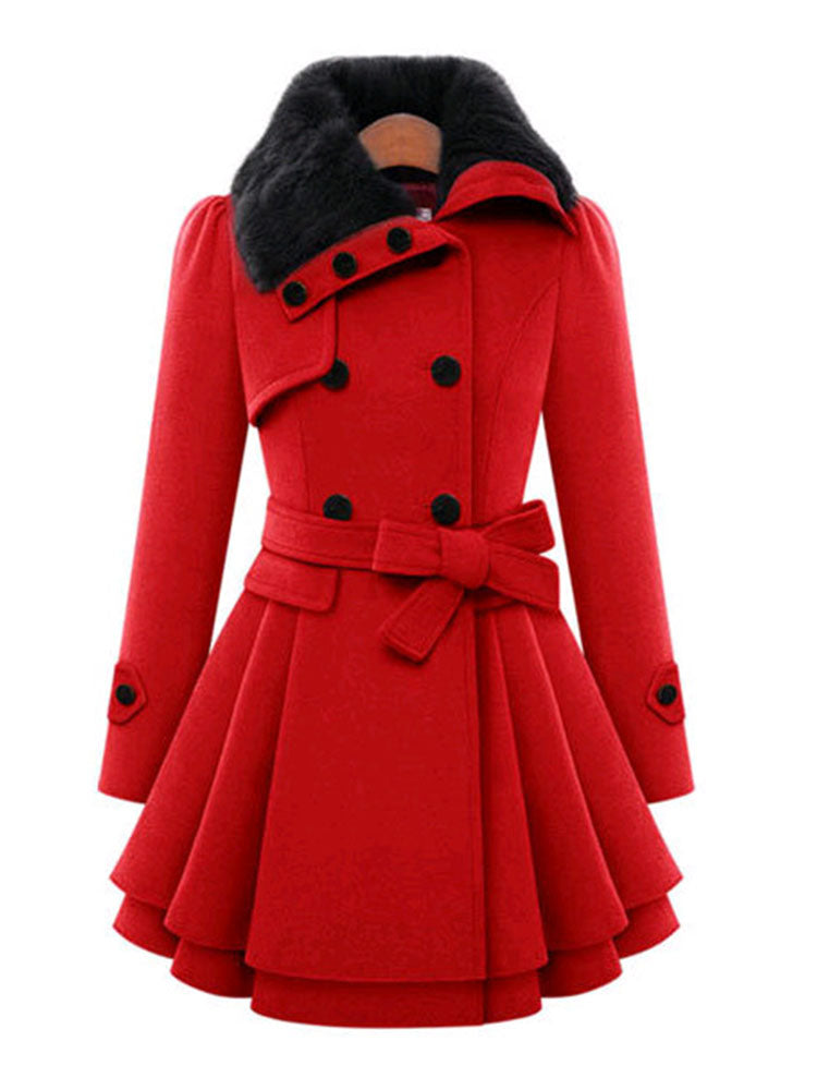 Women Mid Long Double Breasted Woolen Coat