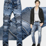 Motorcycle Fashion Slim Straight Leg Biker Jeans for Men