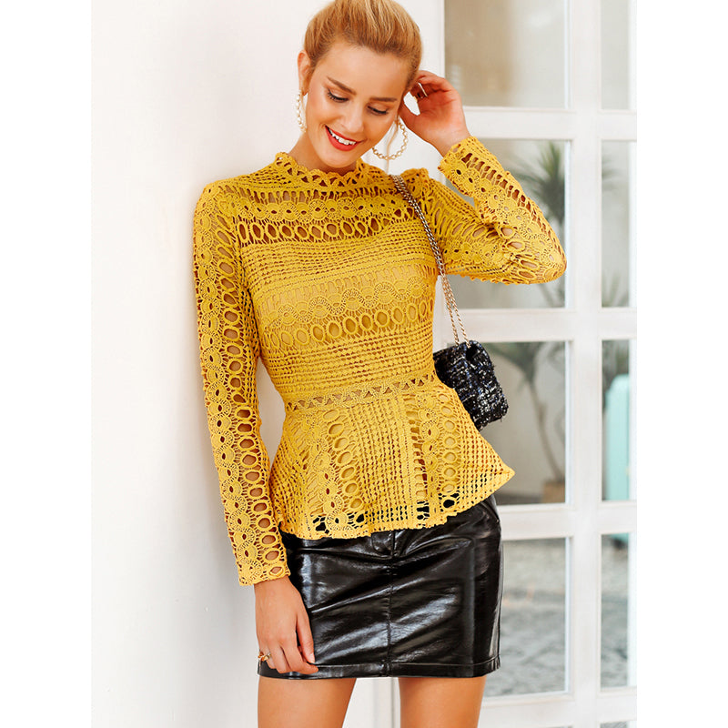 Elegant lace hollow out blouse shirt