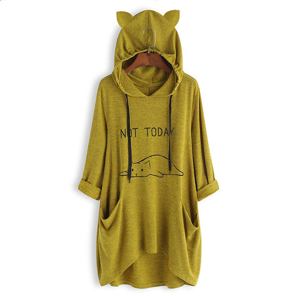 Cartoon Print Cat Ear Hooded Sweatshirt