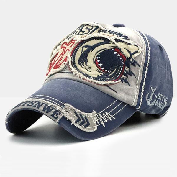 Washed Baseball Cap Fashion Shark Peaked Cap Sunshade Cap