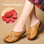 Vintage Handmade Leather Soft Flat Loafers Sandals